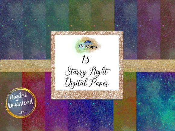 Print on Demand: Starry Night Digital Papers Graphic Backgrounds By TE Designs