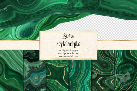 Print on Demand: Strata Malachite Textures Gráfico Texturas Por Digital Curio