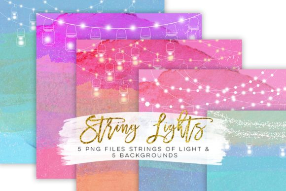 Print on Demand: String Lights Rainbow Party Clip Art Grafik Illustrationen von SunflowerLove