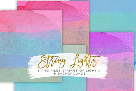 Print on Demand: String Lights Rainbow Party Clip Art Graphic Illustrations By SunflowerLove - Image 2