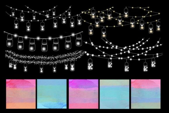 Print on Demand: String Lights Rainbow Party Clip Art Graphic Illustrations By SunflowerLove - Image 3