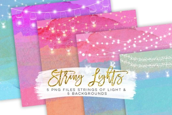 Print on Demand: String Lights Rainbow Party Clip Art Graphic Illustrations By SunflowerLove - Image 4