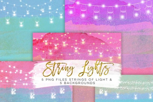 Print on Demand: String Lights Rainbow Party Clip Art Graphic Illustrations By SunflowerLove - Image 5