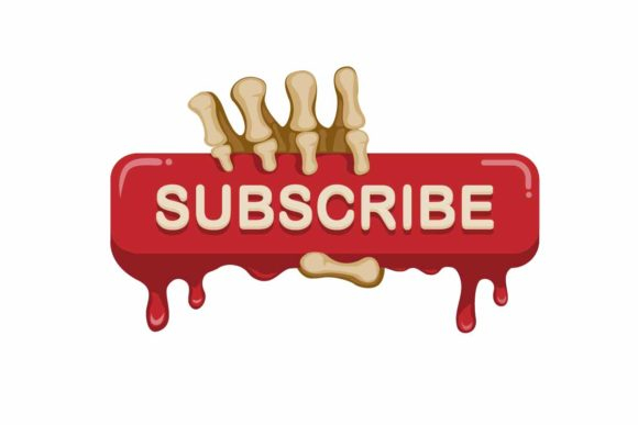 Print on Demand: Subscribe Button with Skeleton Hand Icon Graphic Illustrations By aryo.hadi