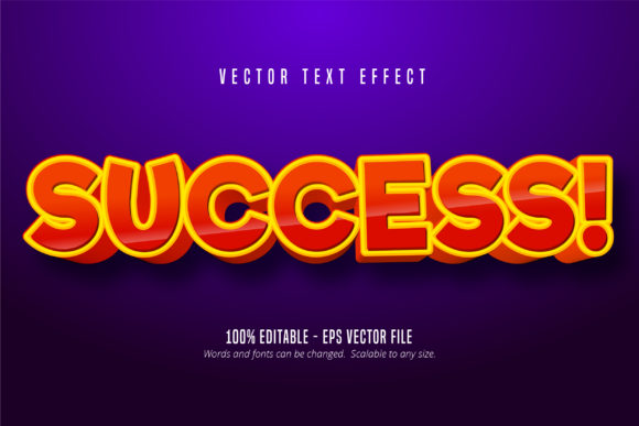 Print on Demand: Success Text, Comic Style Text Effect Graphic Graphic Templates By Mustafa Bekşen