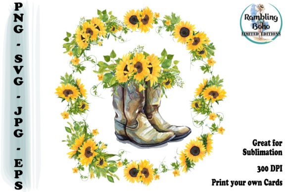Print on Demand: Sunflowers & Boots Graphic Illustrations By RamblingBoho - Image 1