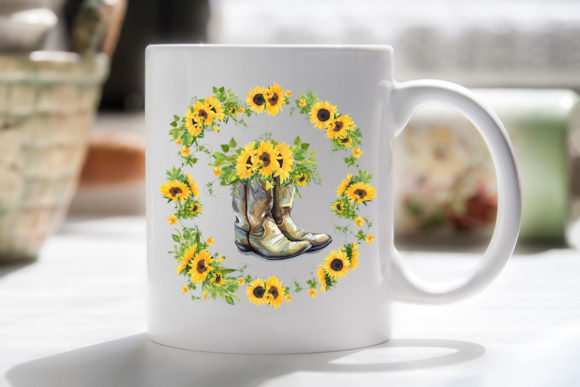 Print on Demand: Sunflowers & Boots Graphic Illustrations By RamblingBoho - Image 2