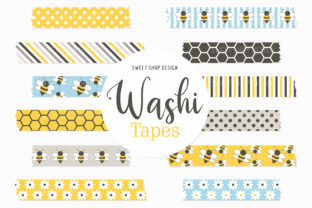 Digital Washi Tape Honey and Bees Graphic Illustrations By Sweet Shop Design