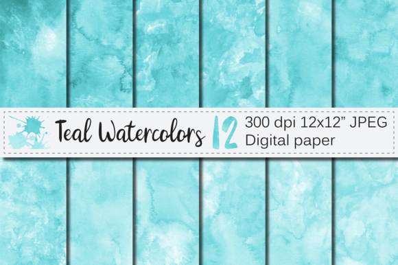 Teal Watercolor Digital Paper / Textures Graphic Backgrounds By VR Digital Design