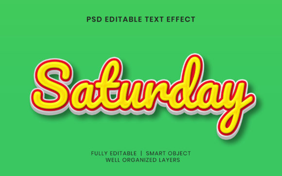 Text Effect - Saturday Text Style Graphic Layer Styles By mrifay1991