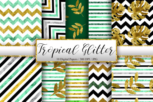 Tropical Glitter Digital Papers Graphic Backgrounds By PinkPearly
