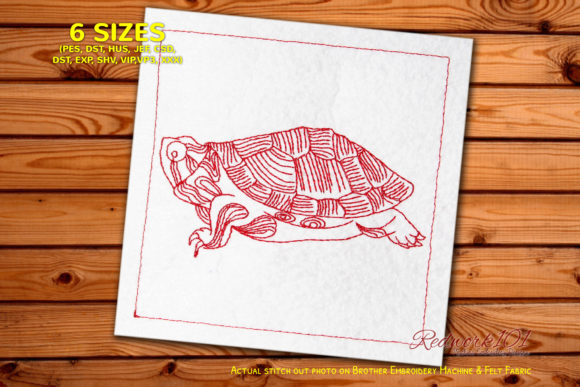 Turtle Bluework Reptiles Embroidery Design By Redwork101