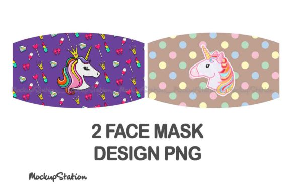 Print on Demand: Unicorn Face Mask Sublimation Design Set Gráfico Moldes Por Mockup Station