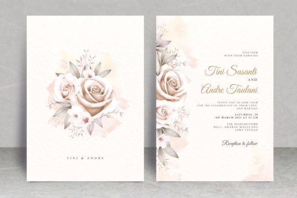 Vintage Floral Watercolor Wedding Card Graphic Print Templates By STWstudio