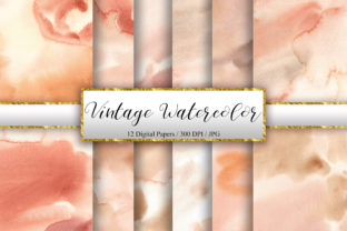Print on Demand: Vintage Watercolor Digital Papers Graphic Backgrounds By PinkPearly