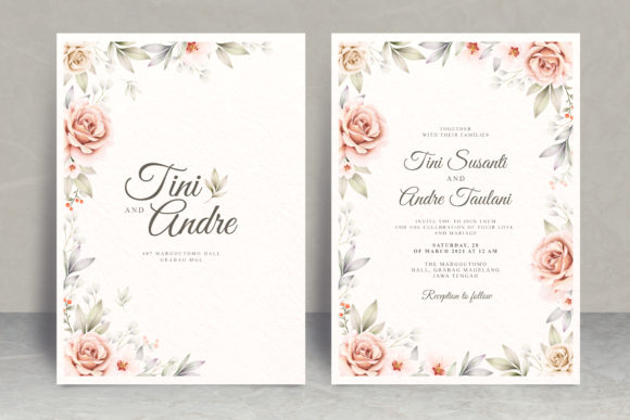 Watercolor Floral Wedding Card Set Theme Graphic Print Templates By STWstudio