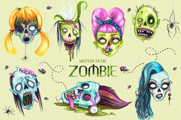 Watercolor Zombie Heads Grafik Illustrationen von Dapper Dudell