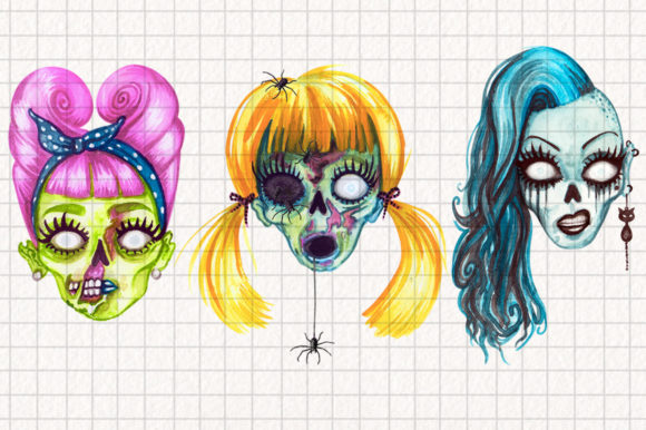 Watercolor Zombie Heads Graphic Illustrations By Dapper Dudell - Image 2