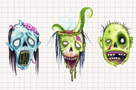 Watercolor Zombie Heads Graphic Illustrations By Dapper Dudell - Image 3