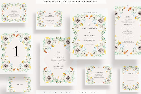 Print on Demand: Wild Floral Wedding Invitation Set Graphic Print Templates By Azka Creative