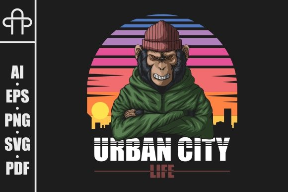 Print on Demand: Angry Urban Monkey Vector Graphic Illustrations By Andypp