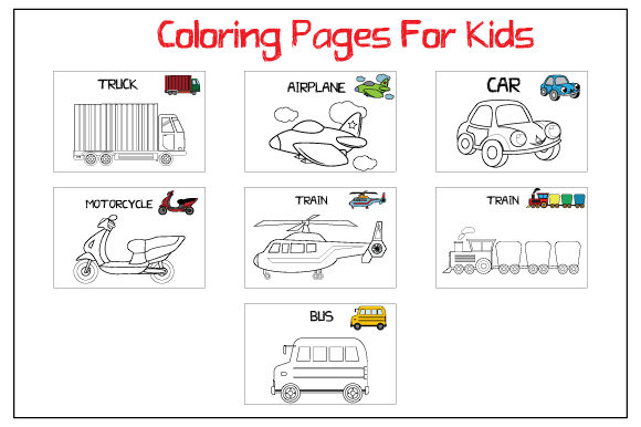 Print on Demand: Coloring Pages for Kids Gráfico Libros para colorear - Niños Por curutdesign
