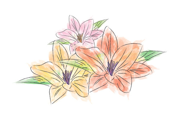 Print on Demand: Flower in Watercolor Design Graphic Illustrations By curutdesign