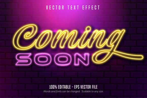 Print on Demand: Neon Style Editable Text Effect - Comming Soon Graphic Graphic Templates By Mustafa Bekşen