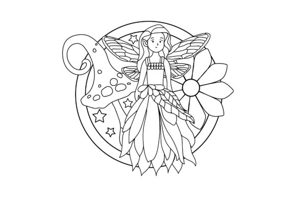 Fairy Coloring Page Cut File