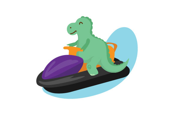 Dinosaur on a Jetski Dinosaurs Craft Cut File By Creative Fabrica Crafts