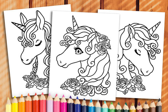 Print on Demand: 6 Unicorn Coloring Book Pages Graphic Coloring Pages & Books Kids By JM_Graphics - Image 1