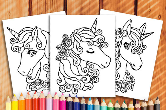 Print on Demand: 6 Unicorn Coloring Book Pages Graphic Coloring Pages & Books Kids By JM_Graphics - Image 2