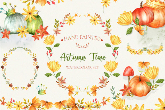 Print on Demand: Autumn Time - Watercolor Set Graphic Illustrations By MariaScaroniAtelier