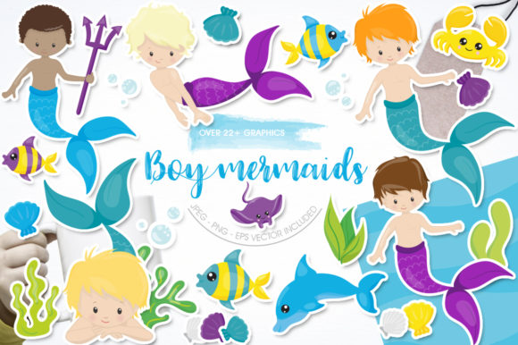 Print on Demand: Boy Mermaids Graphic Illustrations By Prettygrafik