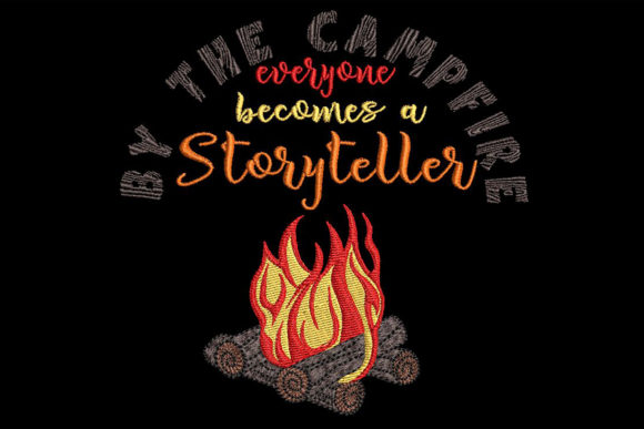 Print on Demand: Campfire Embroidery with a Quote Vacation Embroidery Design By Embroidery Shelter - Image 1