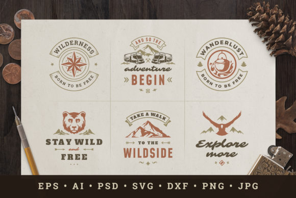 Camping & Outdoor Quotes Graphic Logos By vasyako1984