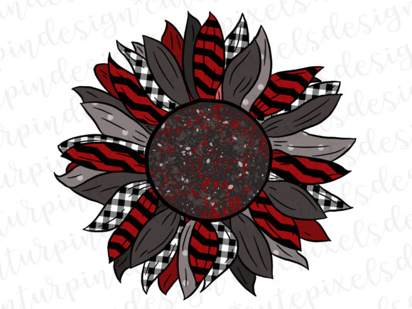 Christmas Sunflower - Red White Black Graphic Illustrations By SusanTurpinDesign