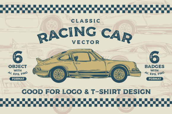 Classic Racing Car Vector Graphic Illustrations By Dustfinger