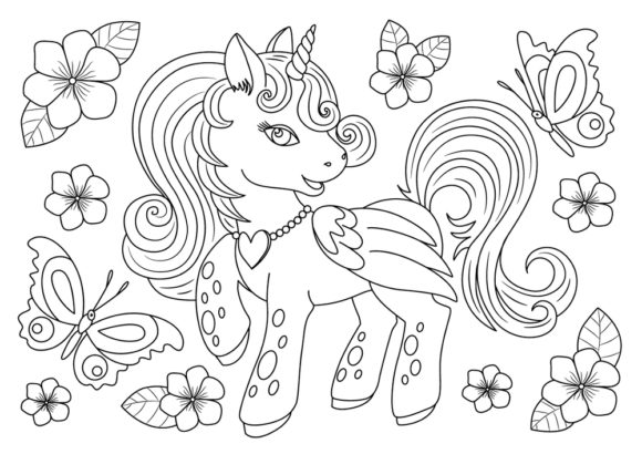 Print on Demand: Coloring Book Page Unicorn for Kids Graphic Coloring Pages & Books Adults By ajubayer555 - Image 1