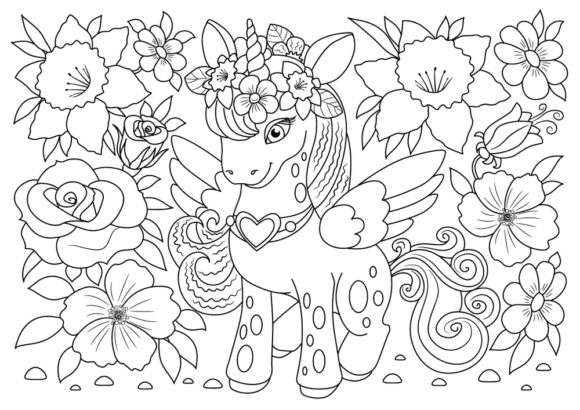 Print on Demand: Coloring Book Page Unicorn for Kids Graphic Coloring Pages & Books Adults By ajubayer555 - Image 2