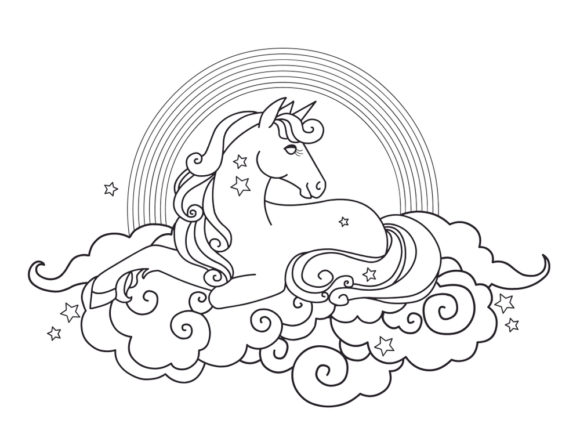 Print on Demand: Coloring Book Page Unicorn for Kids Graphic Coloring Pages & Books Adults By ajubayer555 - Image 3