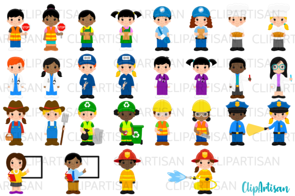 Community Helpers Clipart, Professionals Graphic Illustrations By ClipArtisan