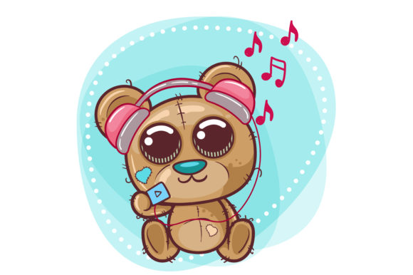 Cute Bear Cartoon with Headphone Graphic Illustrations By maniacvector