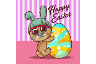 Cute Bear with Happy Easter Egg Graphic Illustrations By maniacvector