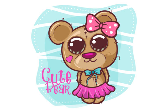 Cute Cartoon Bear Girl Graphic Illustrations By maniacvector