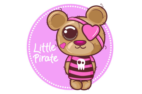 Cute Little Bear Pirat Graphic Illustrations By maniacvector