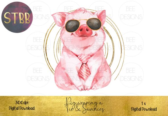 Cute Pig in Tie and Glasses Sublimation Graphic Illustrations By STBB