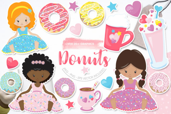 Print on Demand: Donut Girls Graphic Illustrations By Prettygrafik