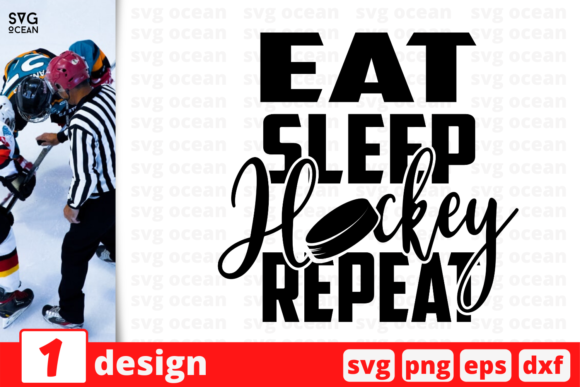 Print on Demand: Eat Sleep Hockey Repeat Graphic Crafts By SvgOcean