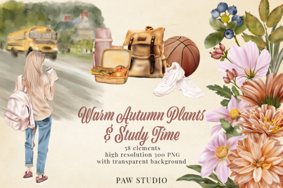 Print on Demand: Fall Floral Clipart Girls Back to School Graphic Illustrations By PawStudio
